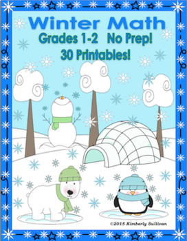 January Winter Math Printables Morning Work  No Prep Grades 1-2