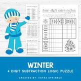 Winter 4 Digit Subtraction Logic Puzzle