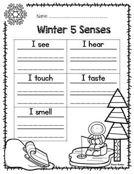 Winter 5 Senses Writing