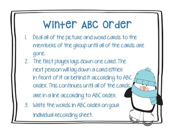 Winter ABC Order Activity