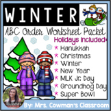 Winter ABC Order Cut & Paste Worksheets- Alphabetical Order No Prep Printables