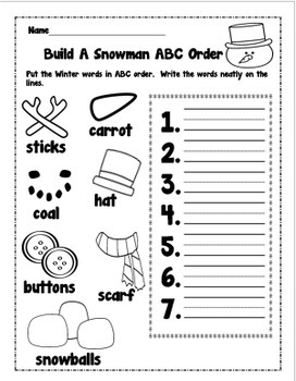 Winter ABC Order Packet