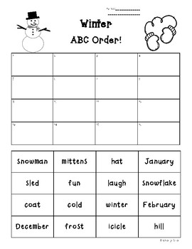 winter abc order practice worksheet by 4 little baers tpt. Black Bedroom Furniture Sets. Home Design Ideas