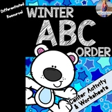 Winter ABC Order Worksheets and Center Activity