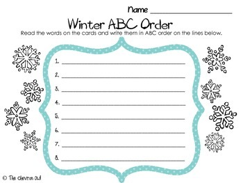 Winter ABC Order and Write the Room