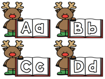 Winter ABC cards. Snowmen and Reindeer