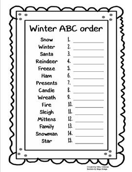 Winter ABC order