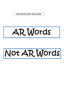 Snowy AR Word Sort