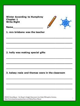 Winter According to Humphrey Book Unit