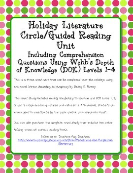Winter According to Humphrey Novel Study DOK Questions Extensions Vocabulary