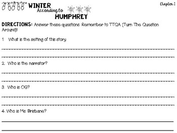 Winter According to Humphrey - Question Set
