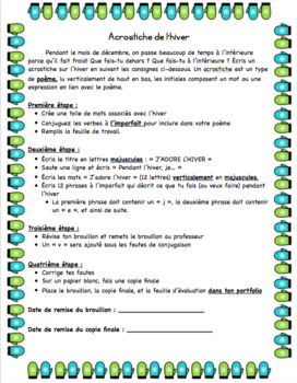 Winter Acrostic - French