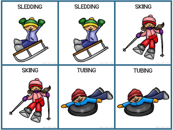 Winter Vocabulary Cards for Winter Actions