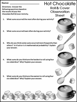 Winter Activities: Hot Chocolate/Hot Cocoa Roll & Cover Winter Math Activity