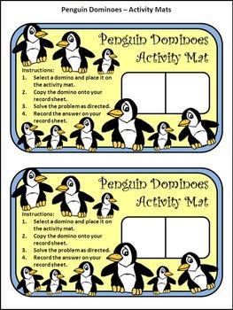 Winter Activities: Penguin Dominoes Winter Math Game Activity Packet