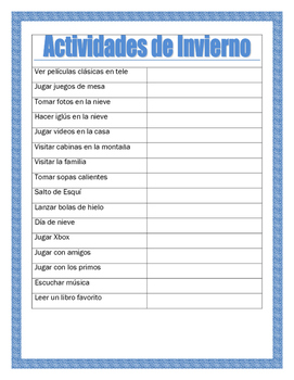 Winter Recess in Spanish- AR/ER/IR-Writing Prompt for Winter Recess- Invierno