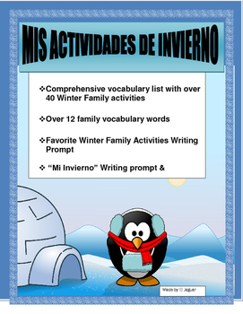 Mis Actividades de Invierno- AR/ER/IR-Writing Prompt for Winter Activities