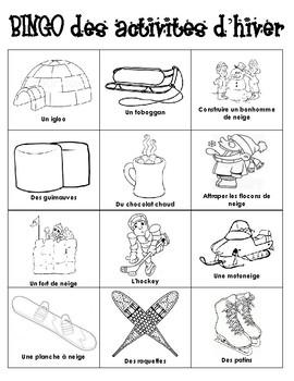 Winter Activities BINGO in French