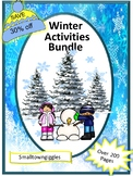 Kindergarten Winter Math and Literacy Activities BUNDLE Cut and Paste Worksheets