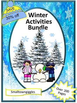 Winter Bundle NO PREP/LOW PREP Math and Literacy Centers P