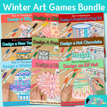 Winter Activities Bundle: Direct Drawing Games, Art Sub Plans & Writing Prompts