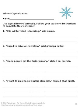 Winter Activities Capitalization Task Cards and Worksheets
