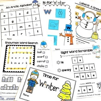 Winter Activities - Copy & Go Math and Literacy Printable Pack