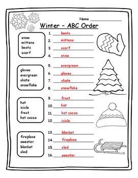 ABC Order Winter Grammar Winter English Winter ELA Winter 1st Winter