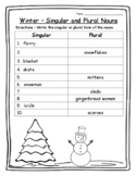 Winter Grammar Winter Singular & Plural Words Winter Activities 2nd