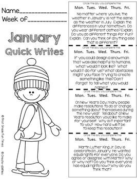 Winter Activities January Quick Writes Writing Prompts for Upper Elementary