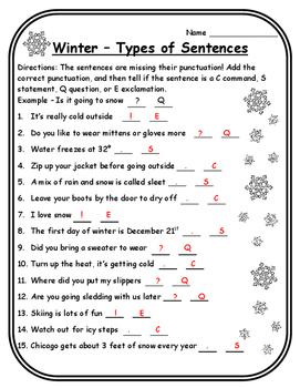 Winter Activities Language Arts Types of Sentences Winter Activity Christmas ELA