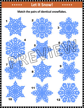 Winter Activities: Match the Pairs of Identical Snowflakes, Non-CU