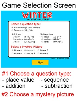 Winter Activities Math Game - Place Value, Addition, Subtraction, Sequencing