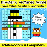 Winter Activities Math Game - Place Value, Addition, Subtr