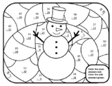 Snowman Math Subtraction Winter Color by Number Math Winter 2nd Math Snowman