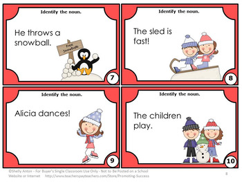 Nouns Task Cards, Winter Activities, Parts of Speech Review, ESL Games SCOOT