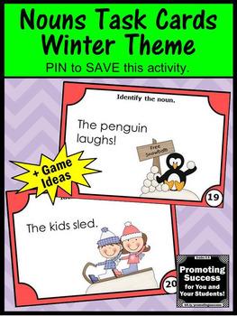 Noun Task Cards, Winter Literacy Centers