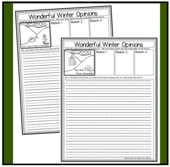Winter Activities Opinion Writing