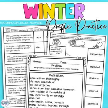 Winter Activities Prefix Practice