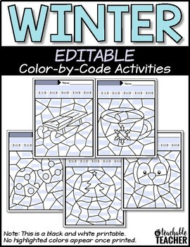 Winter Activities | Color by Sight Word Activities | Editable Color by Code