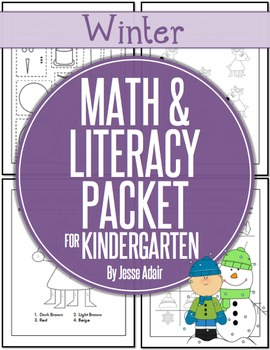 Winter Math and Literacy Packet for Kindergarten JUST PRINT