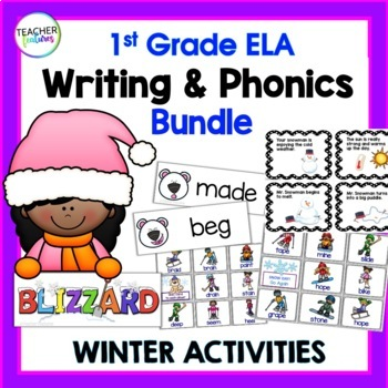 Winter Activities for 1st Grade WRITING & PHONICS BUNDLE