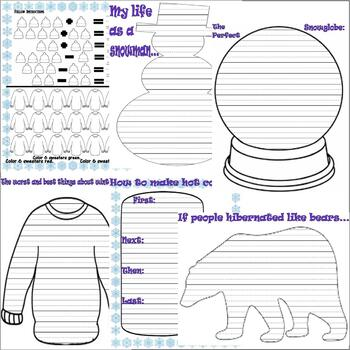 Winter Activity 30pg Packet : Math Spelling Vocabulary : LINED PAPER
