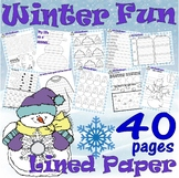 Winter Activities Packet : Math Spelling Vocabulary Fun Writing LINED PAPER 30pg
