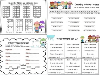Winter Activity Pack Perfect for Subs