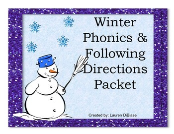 Winter Phonics and Following Directions Packet !