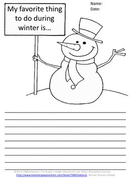winter language arts writing activities by tnbcreations tpt. Black Bedroom Furniture Sets. Home Design Ideas