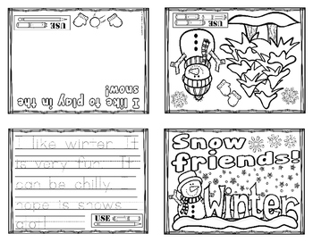 Winter Activity Quarter Folding Card (English)