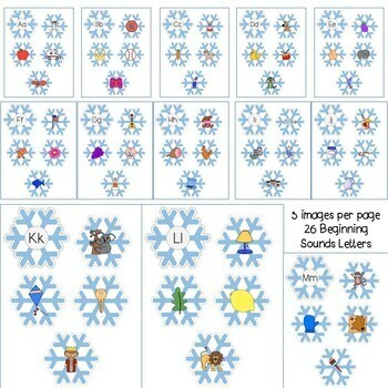 Winter Literacy Activity: Snowflakes Beginning Sounds-Matching First Sounds