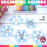 Winter Literacy Activities Beginning Sounds Game for Pre-K & Kindergarten|Pack 1